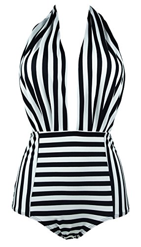461c4a90cd35e COCOSHIP Retro One Piece Backless Bather Swimsuit High Waisted Pin Up  SwimwearFBA